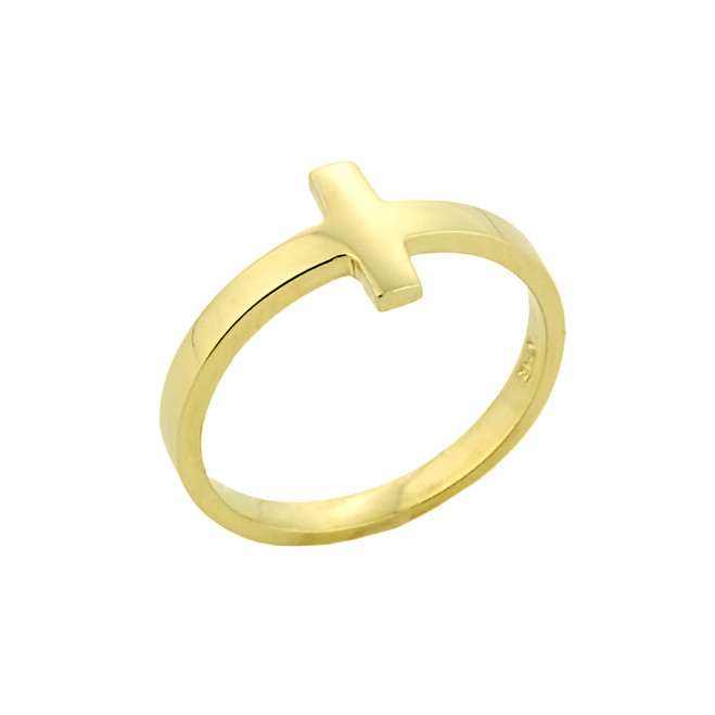 Gold Sideways Cross Knuckle Ring