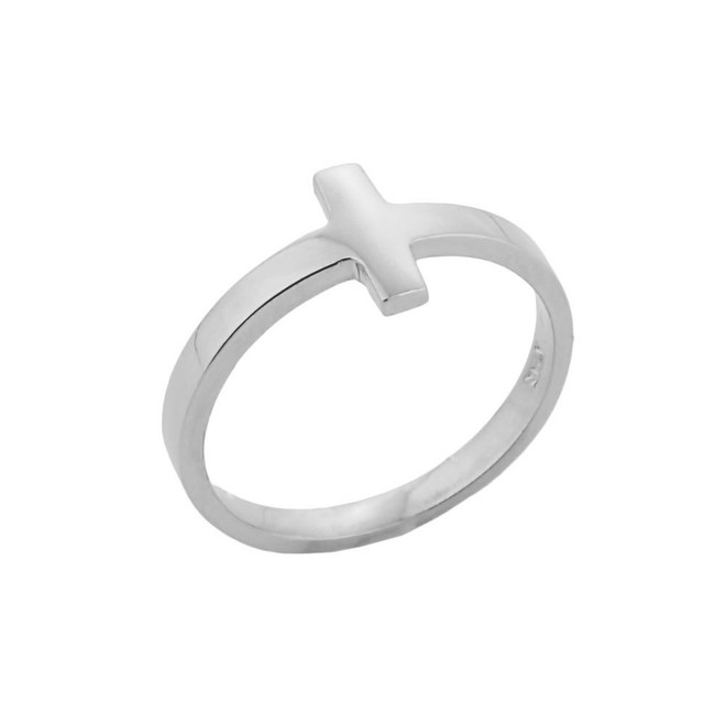 Sterling Silver Sideways Cross Knuckle Ring