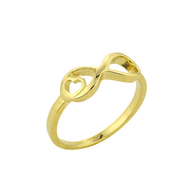 Gold Infinity with Heart Ring