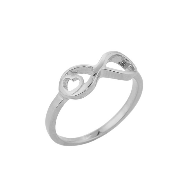 infinity ring gold white in