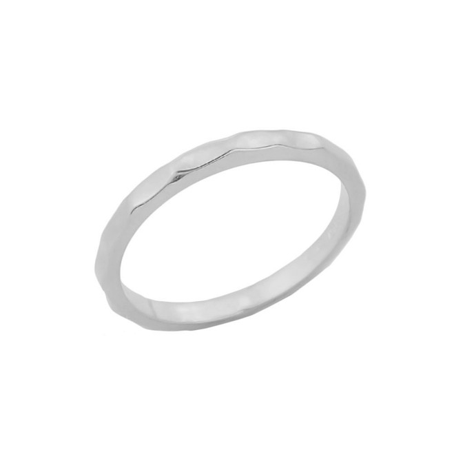White Gold Hammered Knuckle Ring
