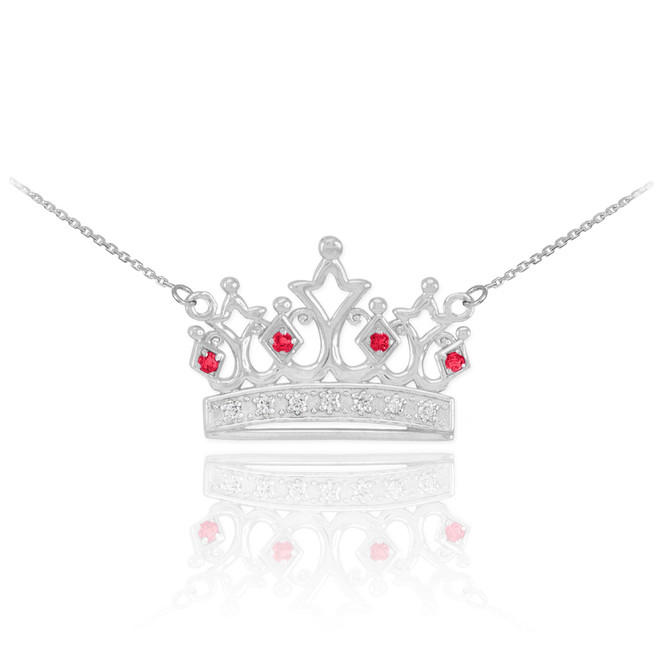 14k White Gold Ruby Crown Necklace with Diamonds