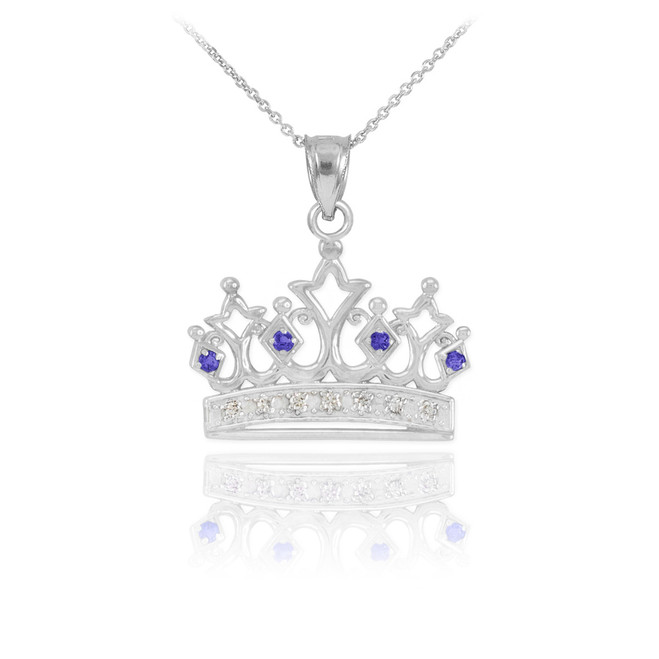 White Gold Sapphire Crown Pendant Necklace with Diamonds