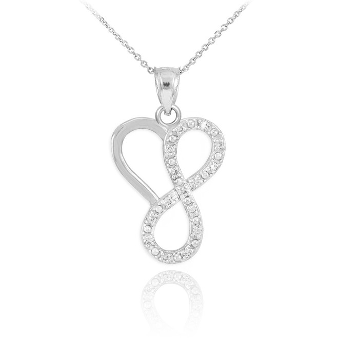 14k White Gold Infinity Heart Pendant Necklace with Diamonds