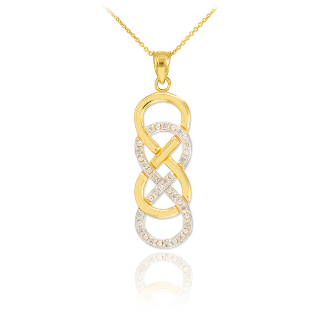 14k Gold Vertical Double Infinity Necklace with Diamonds