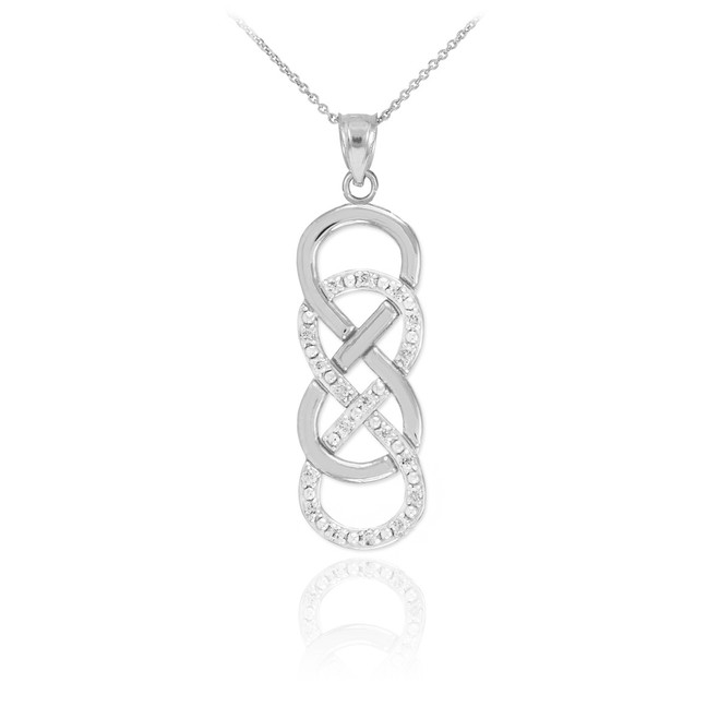 14k White Gold Vertical Double Infinity Necklace with Diamonds