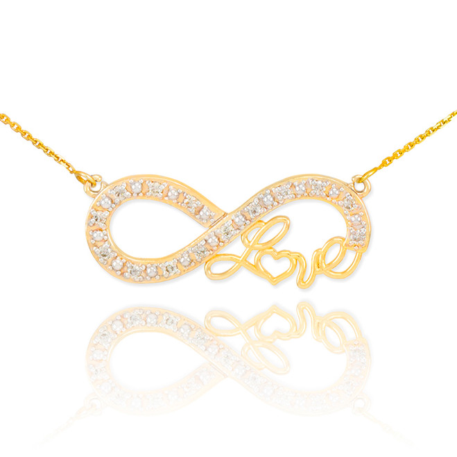 "14k Gold Infinity ""Love"" Script Necklace with Diamonds"