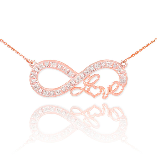 "14k Rose Gold Infinity ""Love"" Script Necklace with Diamonds"