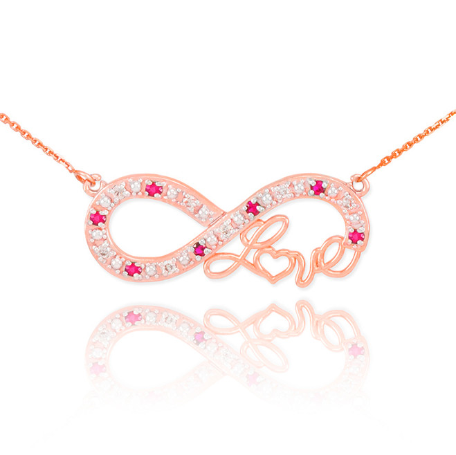 "14k Rose Gold Ruby Infinity ""Love"" Script Necklace with Diamonds"