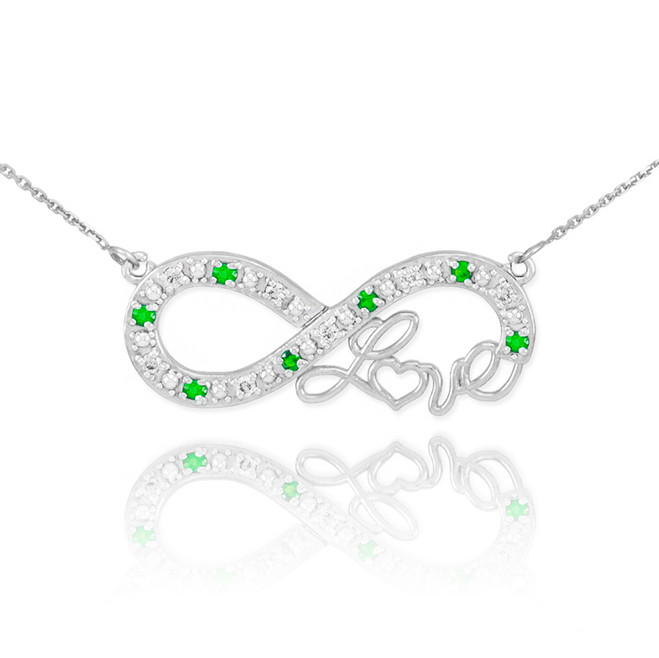 "14k White Gold Emerald Infinity ""Love"" Script Necklace with Diamonds"