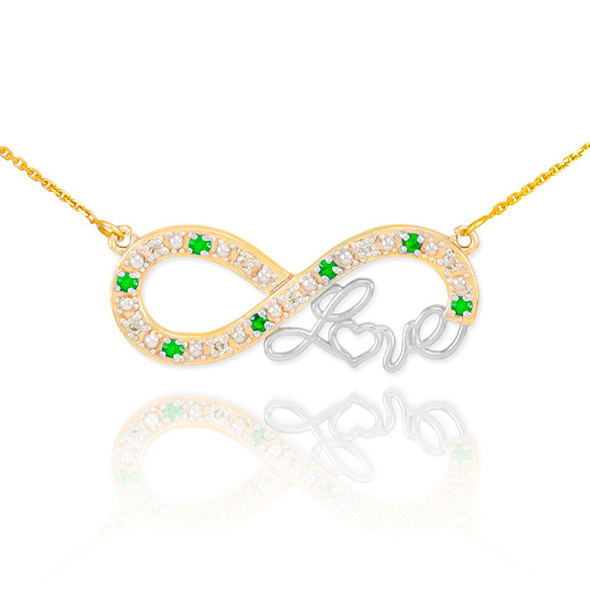 "14k Two-Tone Gold Emerald Infinity ""Love"" Script Necklace with Diamonds"