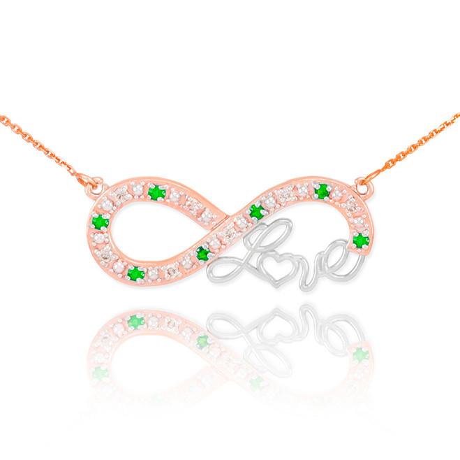 "14k Two-Tone Rose Gold Emerald Infinity ""Love"" Script Necklace with Diamonds"