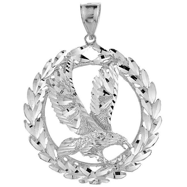 White Gold Eagle in Wreath Pendant