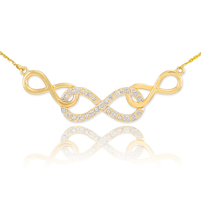 14k Gold Triple Infinity Necklace with Diamonds