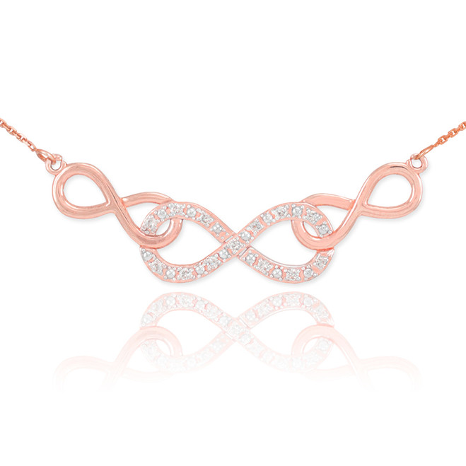14k Rose Gold Triple Infinity Necklace with Diamonds