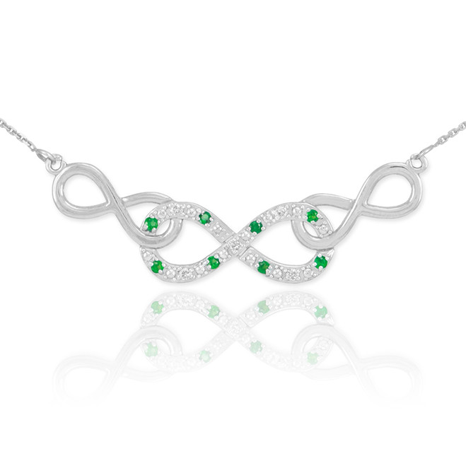 14k White Gold Emerald Triple Infinity Necklace with Diamonds