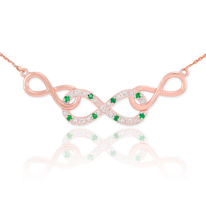 14k Rose Gold Emerald Triple Infinity Necklace with Diamonds