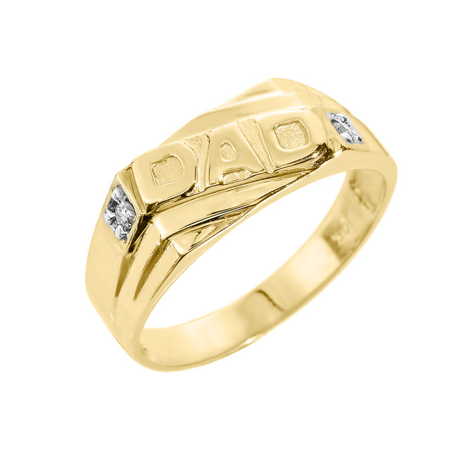 "Solid Yellow Gold Men's Diamond ""DAD"" Ring"