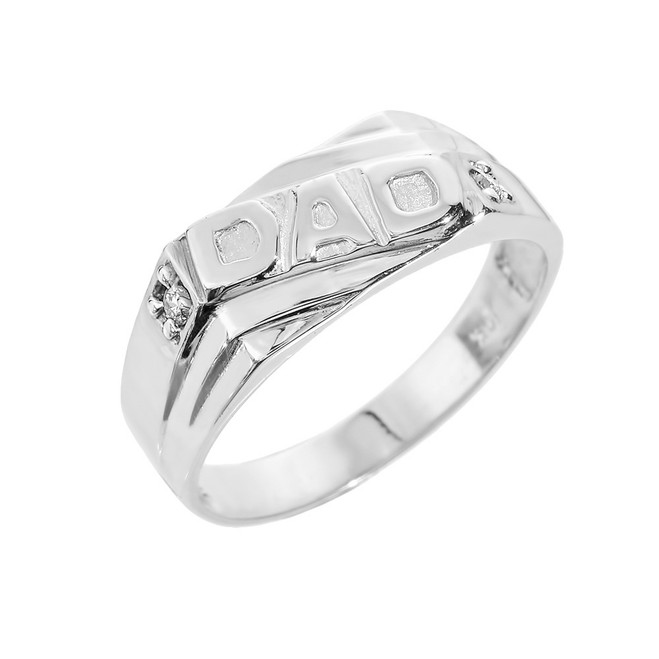 "Solid White Gold Men's Diamond ""DAD"" Ring"