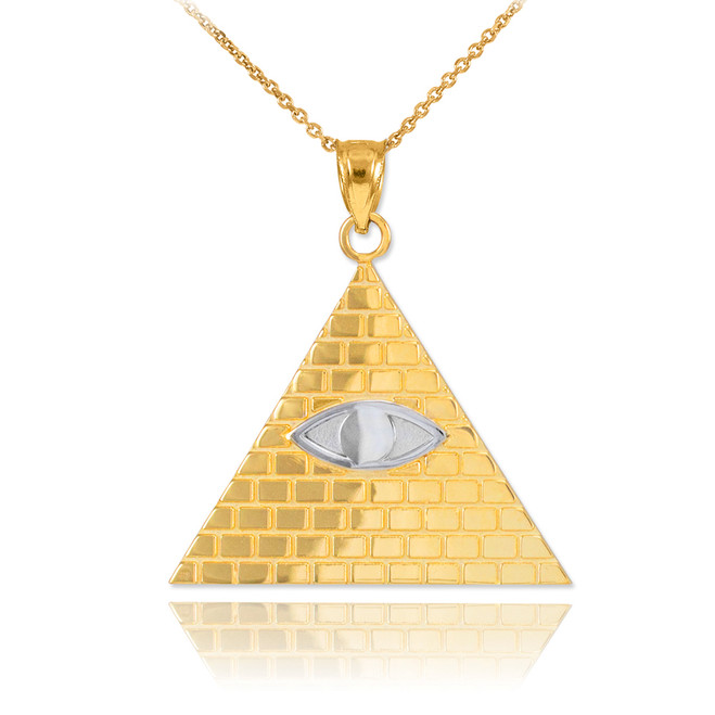 Two-Tone Gold Egyptian Pyramid with All-Seeing Eye of Horus Pendant Necklace