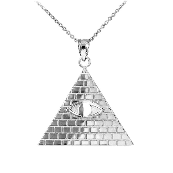 White Gold Egyptian Pyramid with All-Seeing Eye of Horus Pendant Necklace