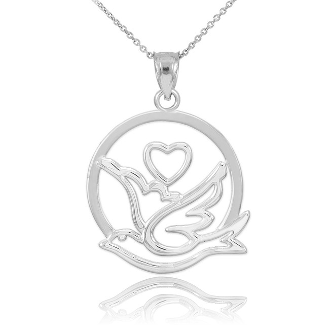 Bird pendants gold bird pendants silver bird pendants yellow white gold dove with heart pendant necklace aloadofball Images