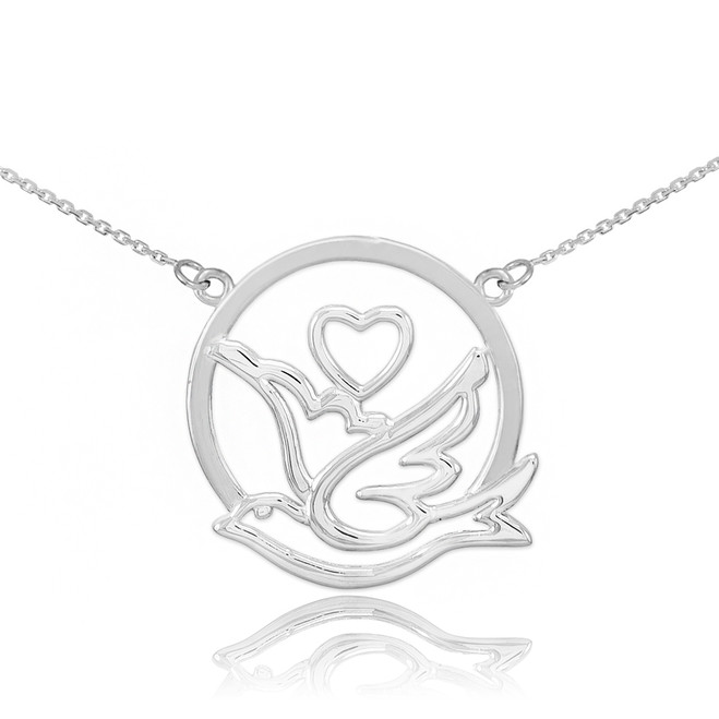 Sterling Silver Dove with Heart Necklace