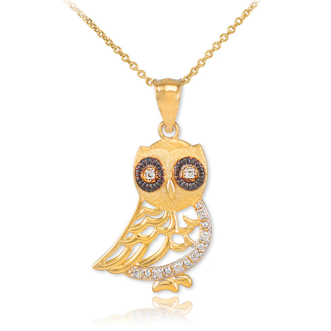 Gold Owl Pendant Necklace with Diamonds