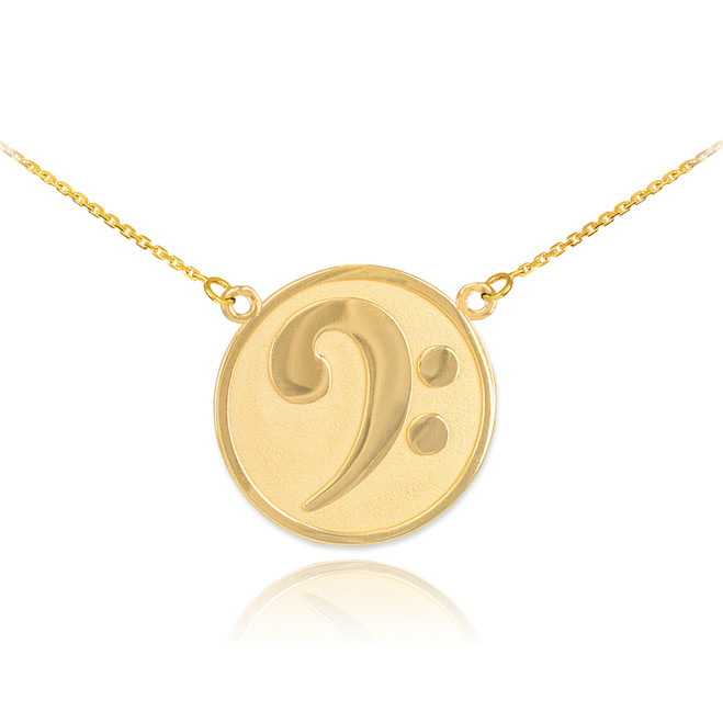 14k Solid Gold Textured Bass F-Clef Charm Necklace