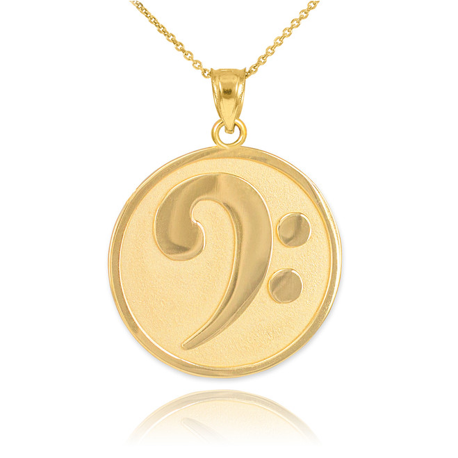 Solid Gold Textured Bass F-Clef Pendant Necklace