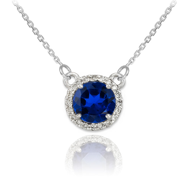 14k White Gold Diamond Blue Sapphire Necklace