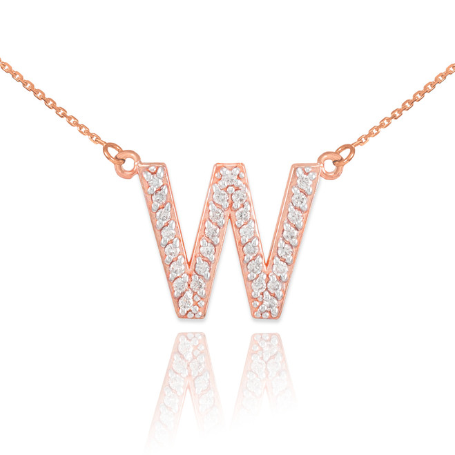 "14k Rose Gold Letter ""W"" Diamond Initial Monogram Necklace"