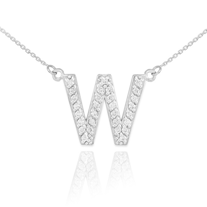 "14k White Gold Letter ""W"" Diamond Initial Monogram Necklace"