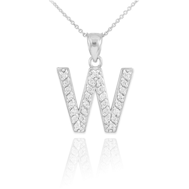 Pendants necklaces initials collection w page 1 factory white gold letter w initial diamond monogram pendant necklace aloadofball Image collections