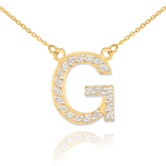 """14k Gold Letter """"G"""" Diamond Initial Necklace"""