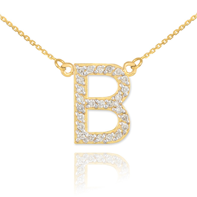 "14k Gold Letter ""B"" Diamond Initial Necklace"