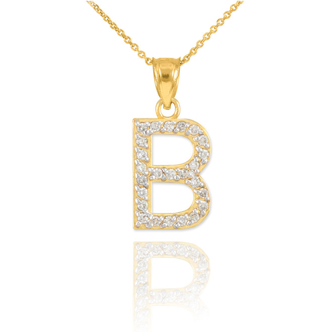 "Gold Letter ""B"" Initial Diamond Pendant Necklace"