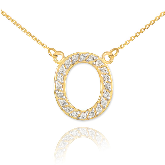 "14k Gold Letter ""O"" Diamond Initial Necklace"