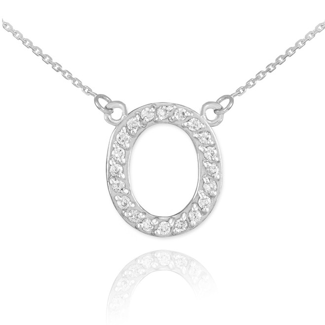 "14k White Gold Letter ""O"" Diamond Initial Necklace"