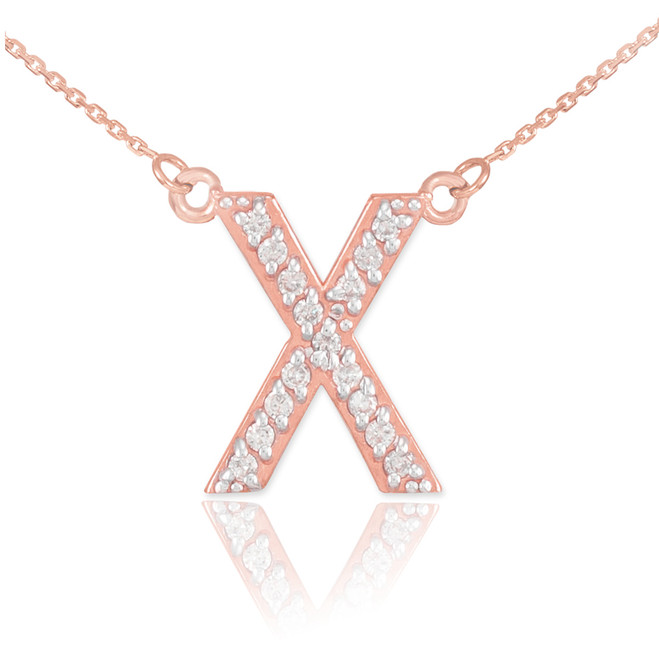 "14k Rose Gold Letter ""X"" Diamond Initial Necklace"