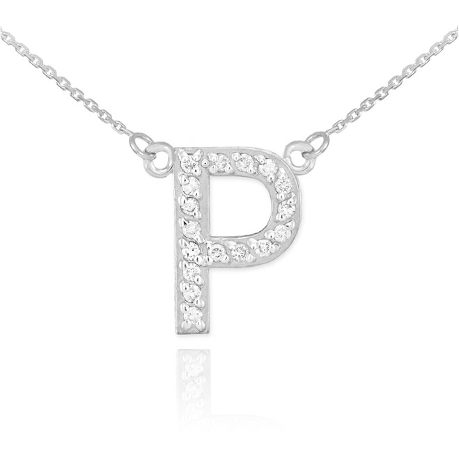"14k White Gold Letter ""P"" Diamond Initial Necklace"