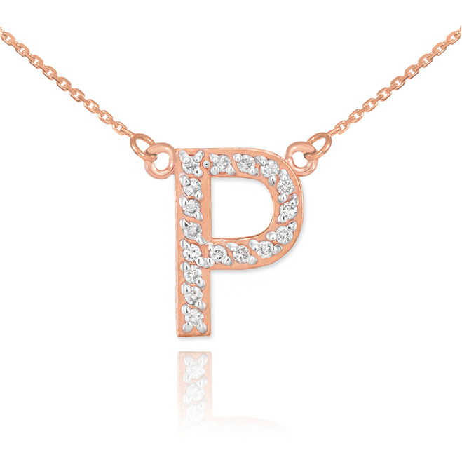 "14k Rose Gold Letter ""P"" Diamond Initial Necklace"