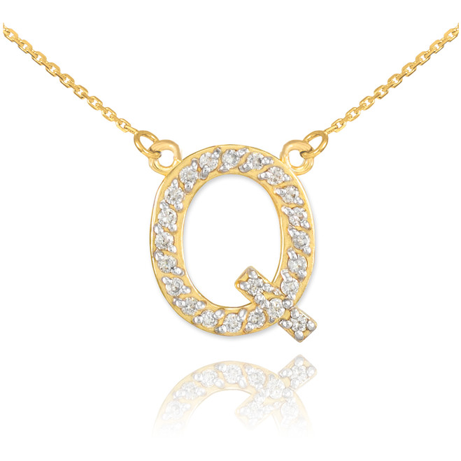 "14k Gold Letter ""Q"" Diamond Initial Necklace"