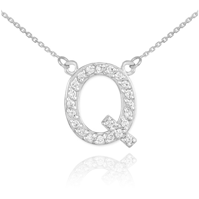 "14k White Gold Letter ""Q"" Diamond Initial Necklace"