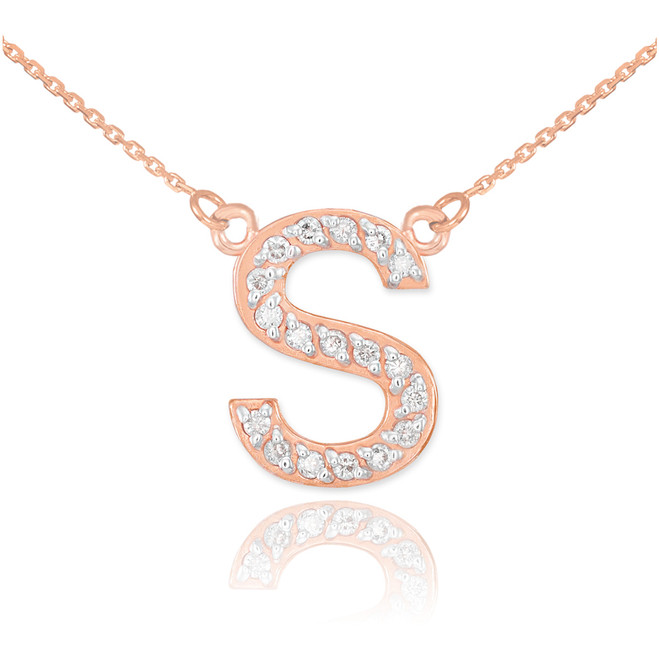 "14k Rose Gold Letter ""S"" Diamond Initial Necklace"