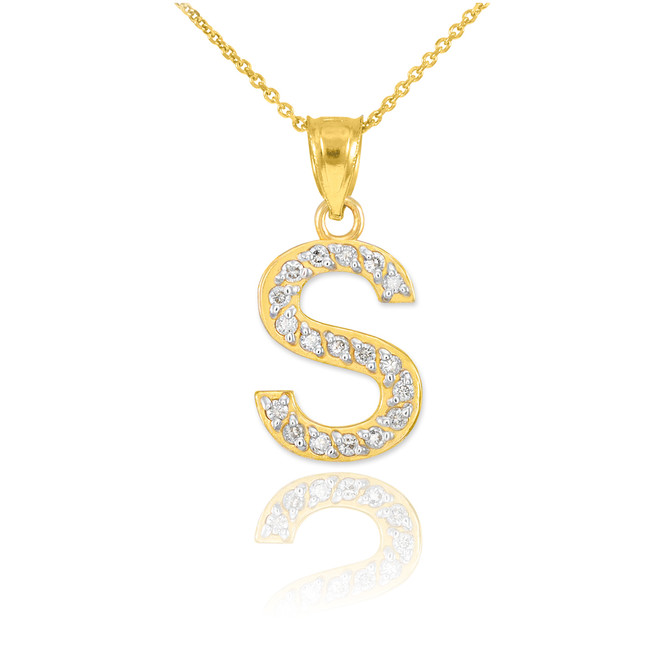 "Gold Letter ""S"" Diamond Initial Pendant Necklace"