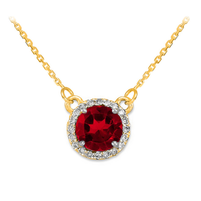 14k Gold Diamond Ruby Necklace
