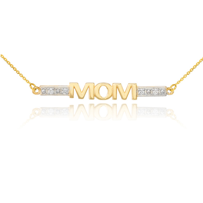 14k Two-Tone Gold Diamond MOM Necklace