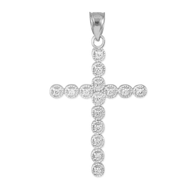 White Gold Diamond Eternity Circle Cross Pendant