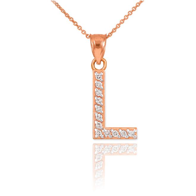 "Rose Gold Letter ""L"" Diamond Initial Pendant Necklace"